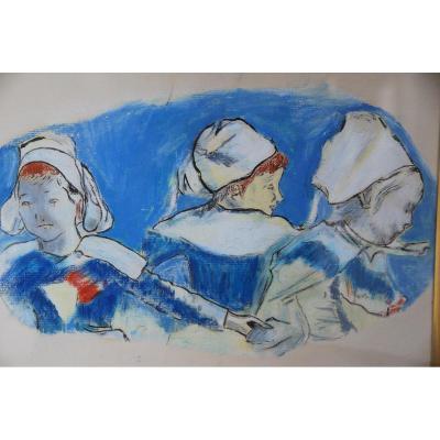 Dessin Au Pastel : Trois Bretonnes  , D Après Paul Gauguin