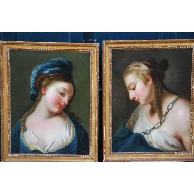 Paire De Portaits De Femmes En Vestale Suiveur De Vien , Fin XVIII