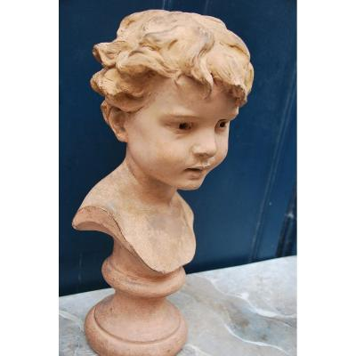 Terracotta Boy Bust Signed By Signoret