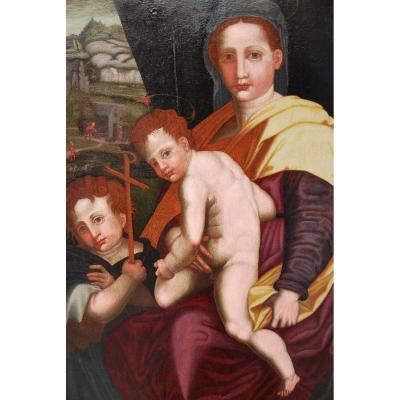Vierge, Saint Jean Baptiste Et L Efant Jésus , Huile XVI Renaissance Italienne
