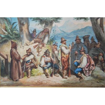 Aquarelle Le Repos Des Bandis Italiens , Attribuée à Antoine Alphonse Montfort  Vers 1860