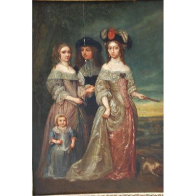 Portrait De Famille Atelier De Netscher  XVII