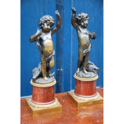 Paire De Chérubins En Bronze Et Marbre Louis XVI