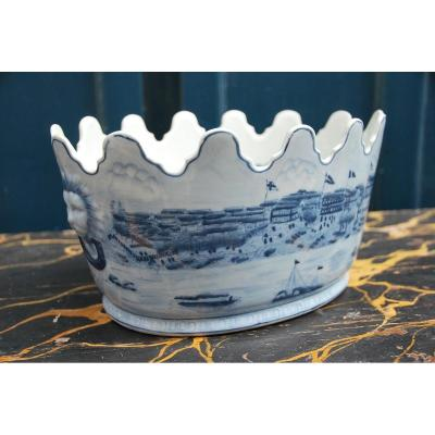 Oval Porcelain Canopy From China White Blue