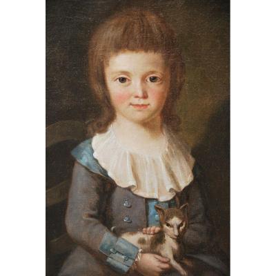 Charming Portrait Of The Young Nouel De Latouche End Of XVIII