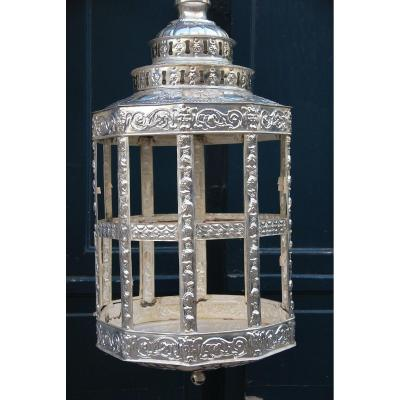 Importante Lanterne En Tole Argentée De Style Moyent Orient