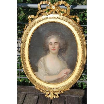 Elegant Portrait Of Woman England, Late XVIII Follower Of John Opie
