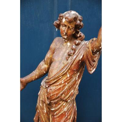 Angel Sculpture In Carved Wood D Louis XIV Period