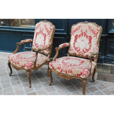 Pair Of Large Armchairs In The Queen D Regence XVIII Period
