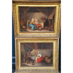 Deux Huiles  Signées De Delamare , Scènes D Intérieurs Fin XVIII