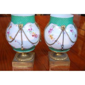 Paire De Vases Montés Dans Le Gout De Sèvres  XIX