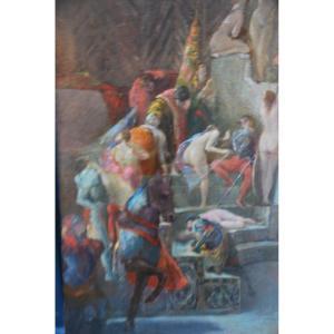 Huile Scène De Sérail Suiveur De Fernand Cormon XIX
