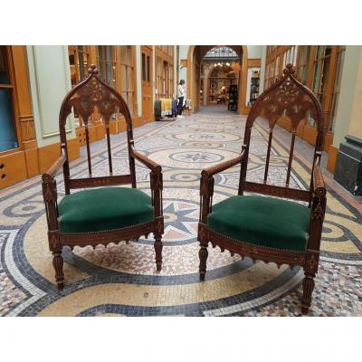 Pair Of Neogothic Armchairs D Charles X Period.
