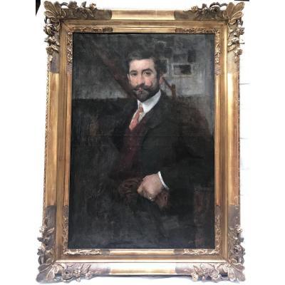 Portrait D Homme Par Jean Laudy (1877-1956)
