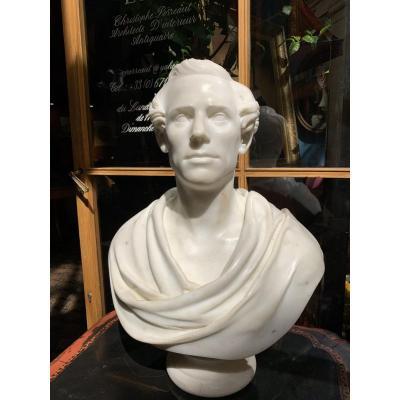 Buste En Marbre De Byron