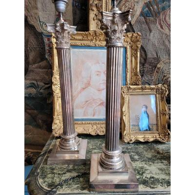 Pair Of Columns In Silver Metal - Lamps