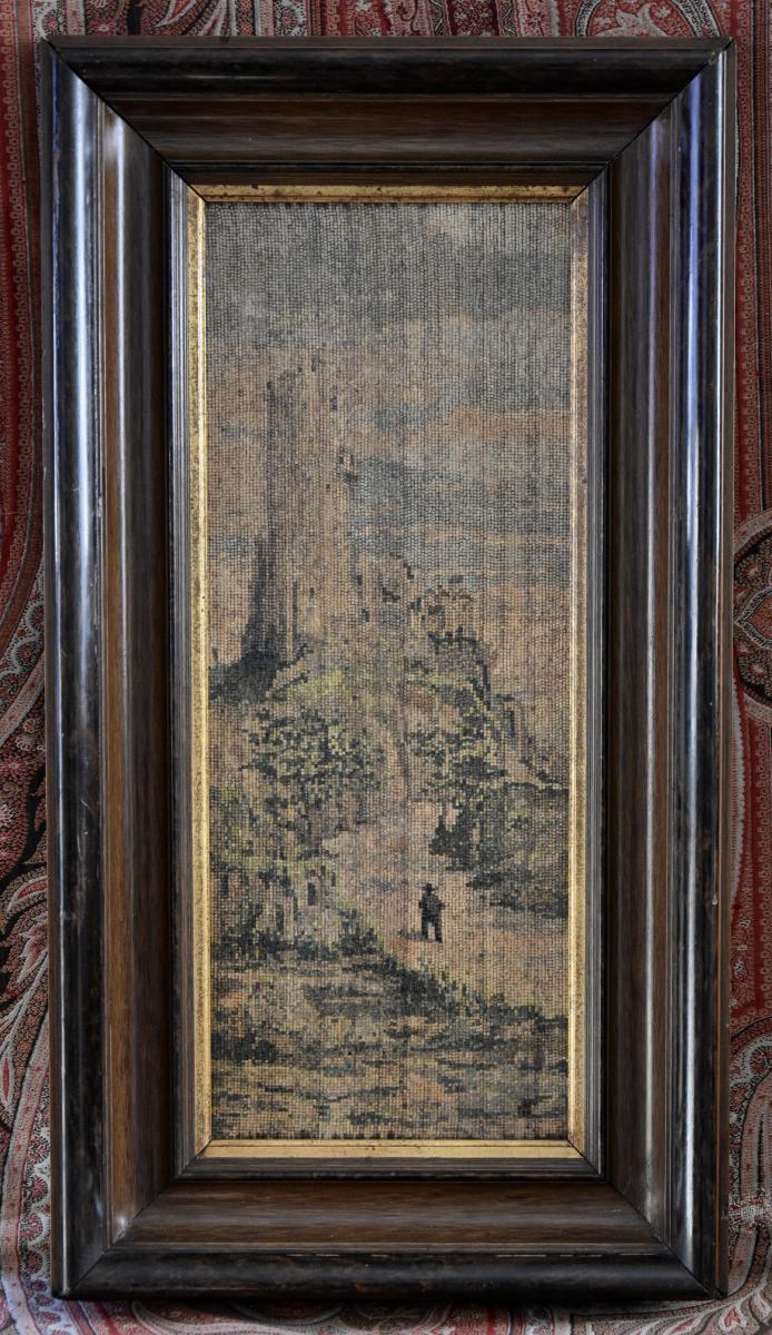 Tableau Micromosaïque Bois XIXème