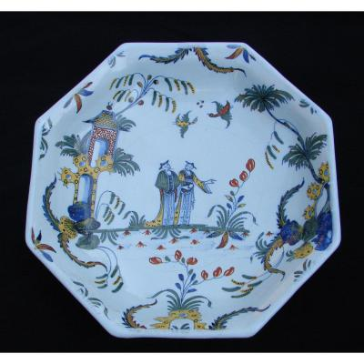 Earthenware Dish Sinceny Hollow Octagonal Chinese. S. 18th