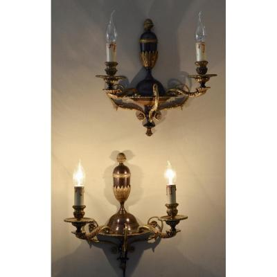 Pair Of Bronze Wall Empire Style