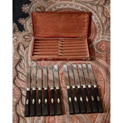 Twelve Silver And Ebony Dessert Knives