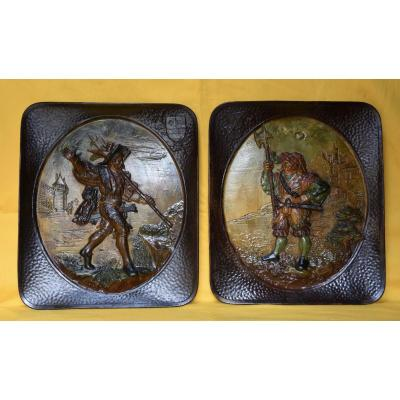 Pair Of Paintings Terracotta Choisy The King