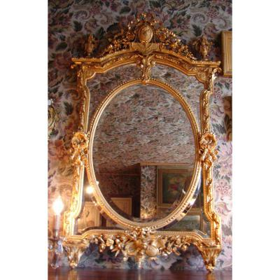 Miroir à Pareclose Bois Doré Louis XVI Attributs De Musique