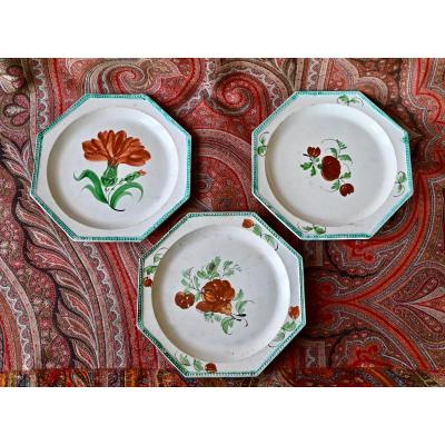 Trois Assiettes  d'Aumales XIXème