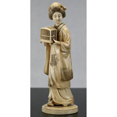 Grand Okimono Japonais geisha Meiji Période