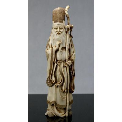 Grand Okimono En Ivoire Japon 19eme