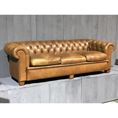 Canapé En Cuir Chesterfield 20 Eme Siècle