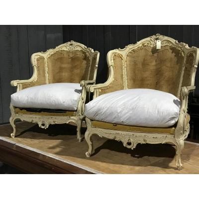 Paire De Bergère Louis XV Patinée