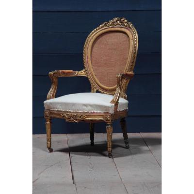Fauteuil Louis XVI En Bois Doré d'époque Napoleon III