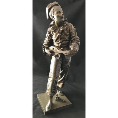 Statue En Bronze ''au Clair De La Lune'' Signée Bouret
