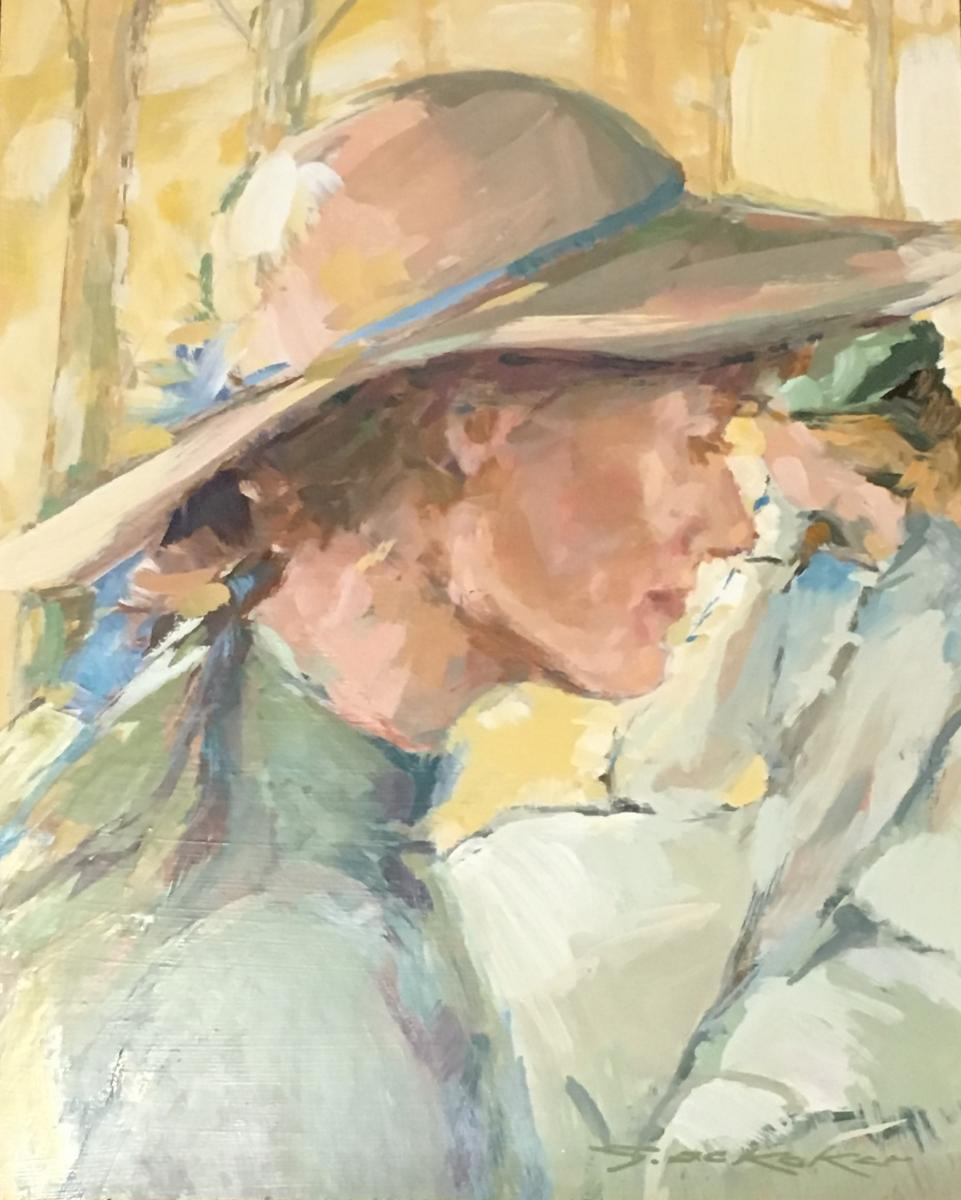 """Tableau Coloré """"femme Au Chapeau"""" 20ème."""