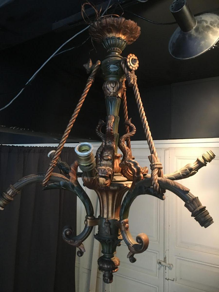 Decorative Chandelier Carved Wood With Fish Begin 20thc.