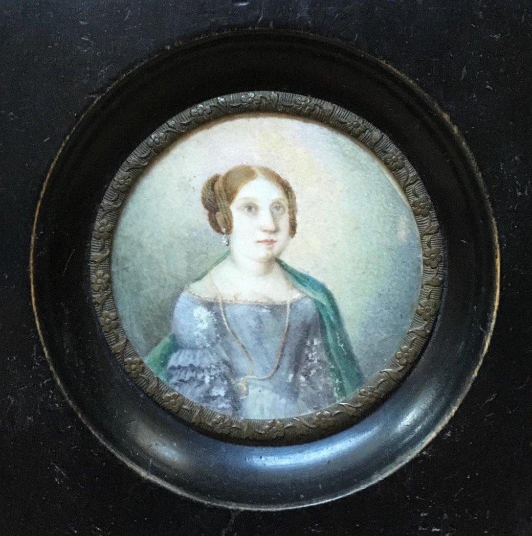 Peinture Miniature 19e Siècle Diamètre : 6 Cm