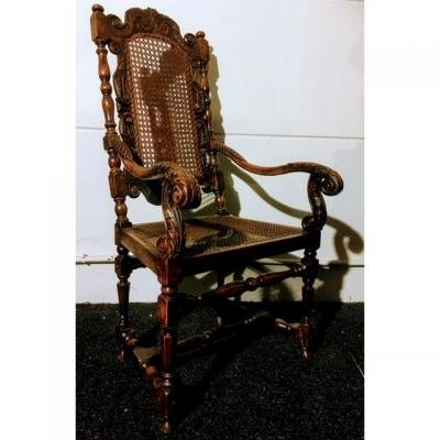 Fauteuil En Noyer Vers 1700 ( William & Mary ) -photo-2