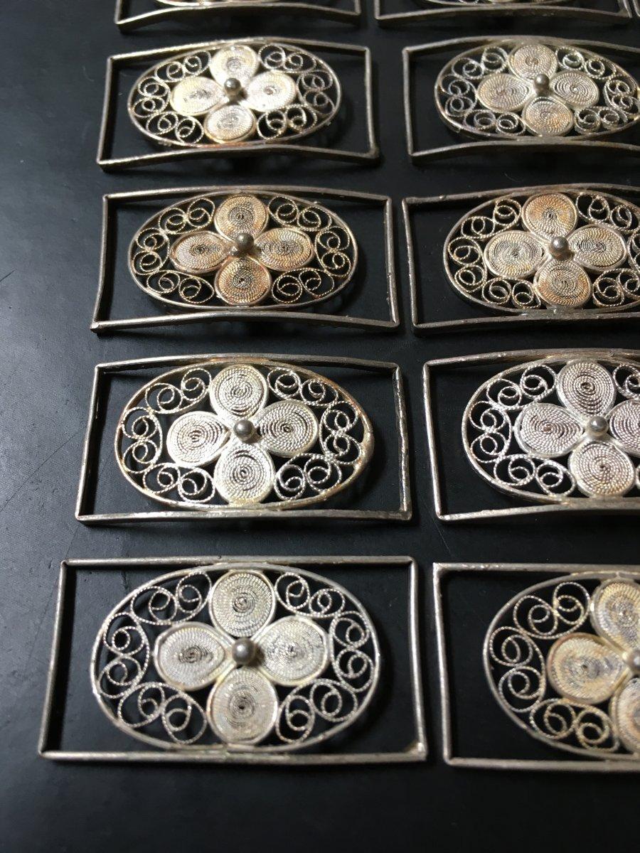 21 Maillons En Filigrane D'argent Massif 17x32 Mm -photo-6