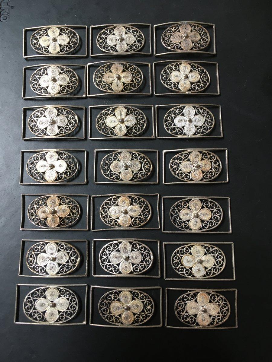 21 Maillons En Filigrane D'argent Massif 17x32 Mm