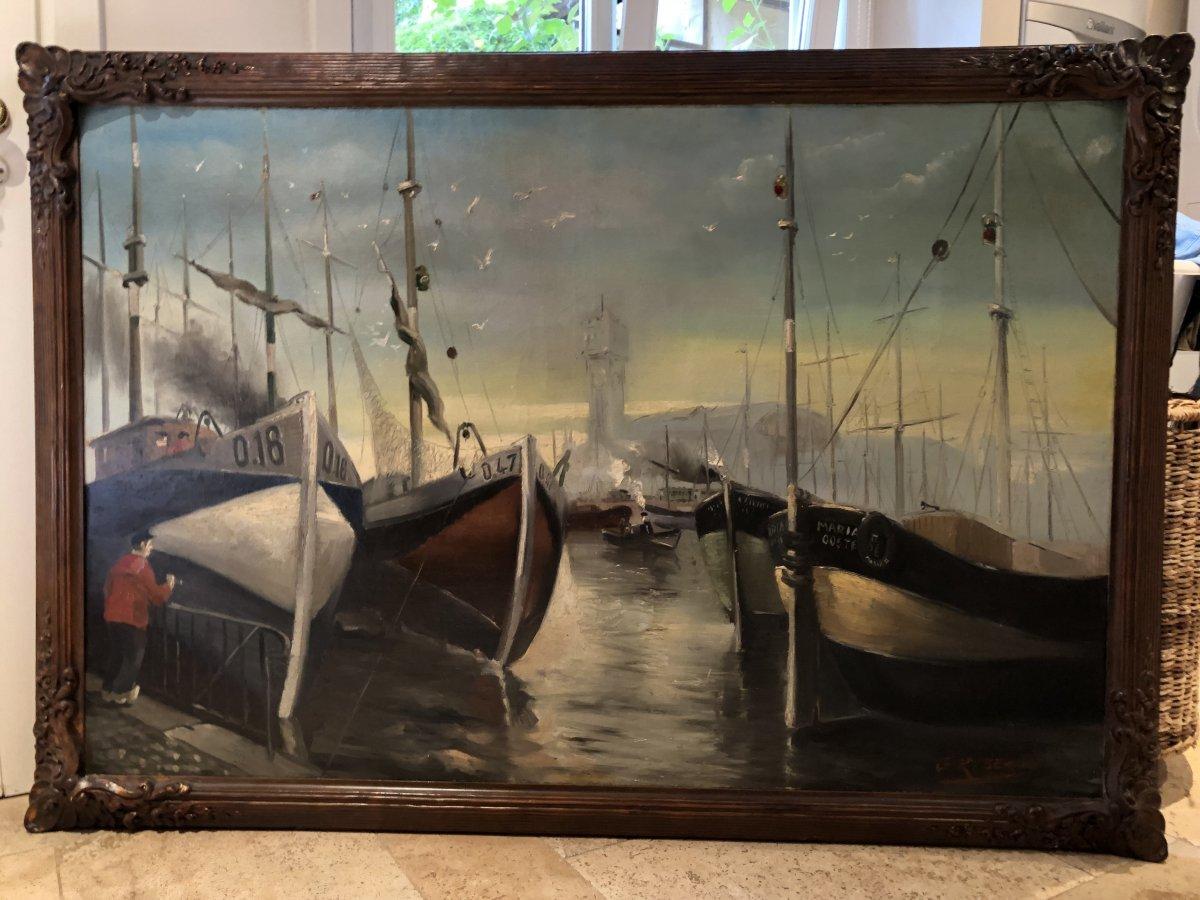 """Grand tableau décoratif """"Bateaux dans le port d'Ostende"""" 20ème."""