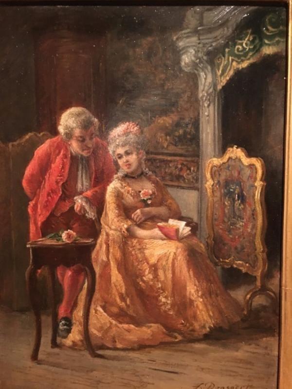 """romantic"" 19th Louis XV Style Painting-photo-2"