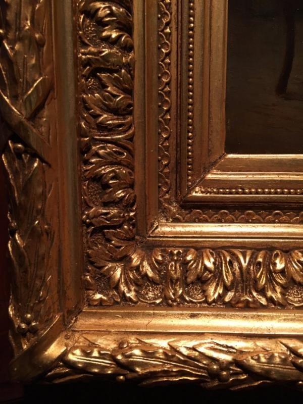 """romantic"" 19th Louis XV Style Painting-photo-4"