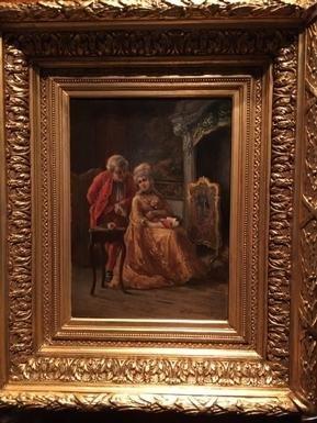 """romantic"" 19th Louis XV Style Painting-photo-5"