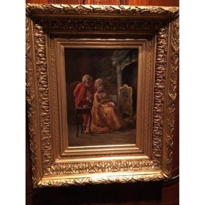 """romantic"" 19th Louis XV Style Painting-photo-6"