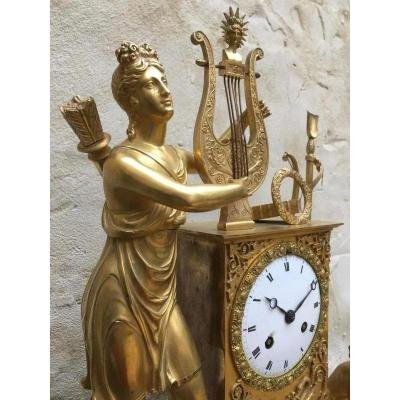 Gilded And Chiseled Bronze Clock Empire Period 1820-1830.