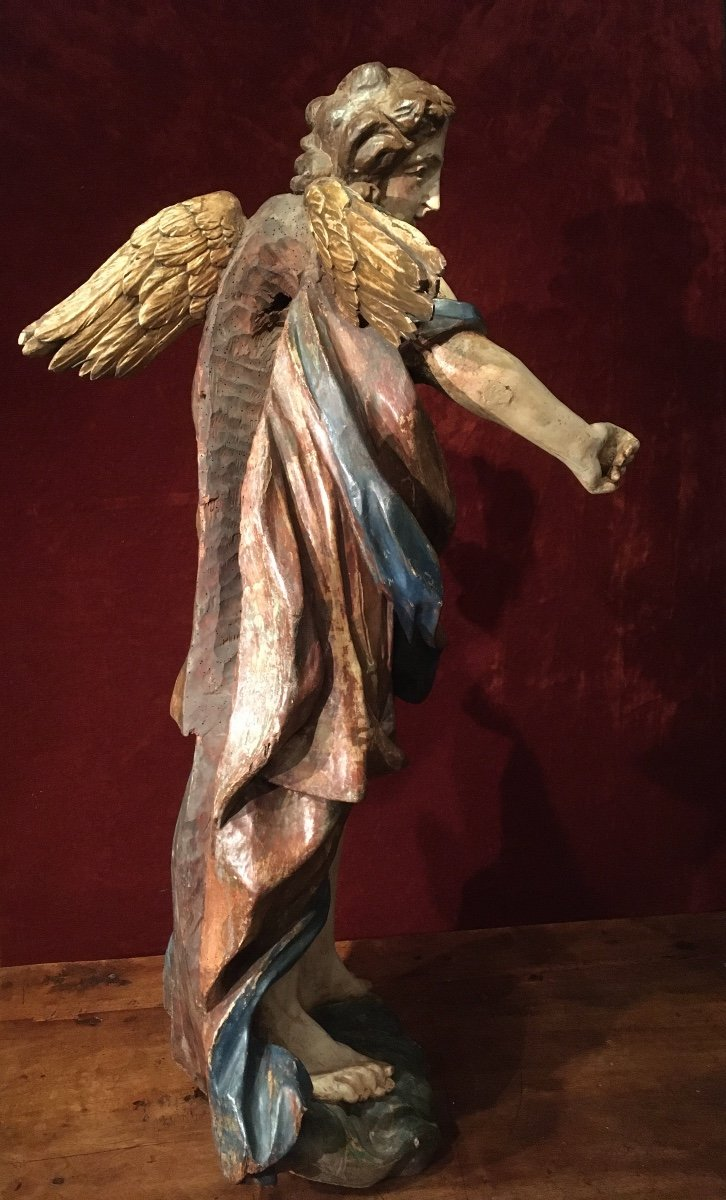 Large Baroque Angel In Polychrome Wood 17th Century-photo-1