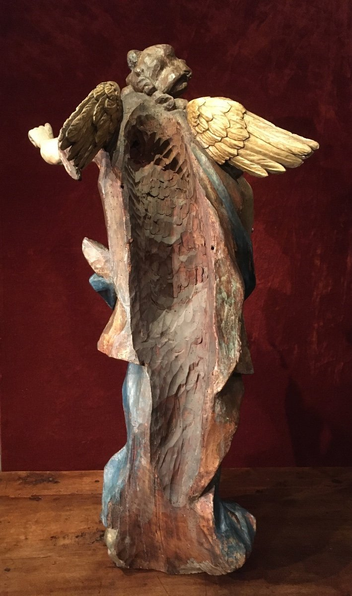 Large Baroque Angel In Polychrome Wood 17th Century-photo-2