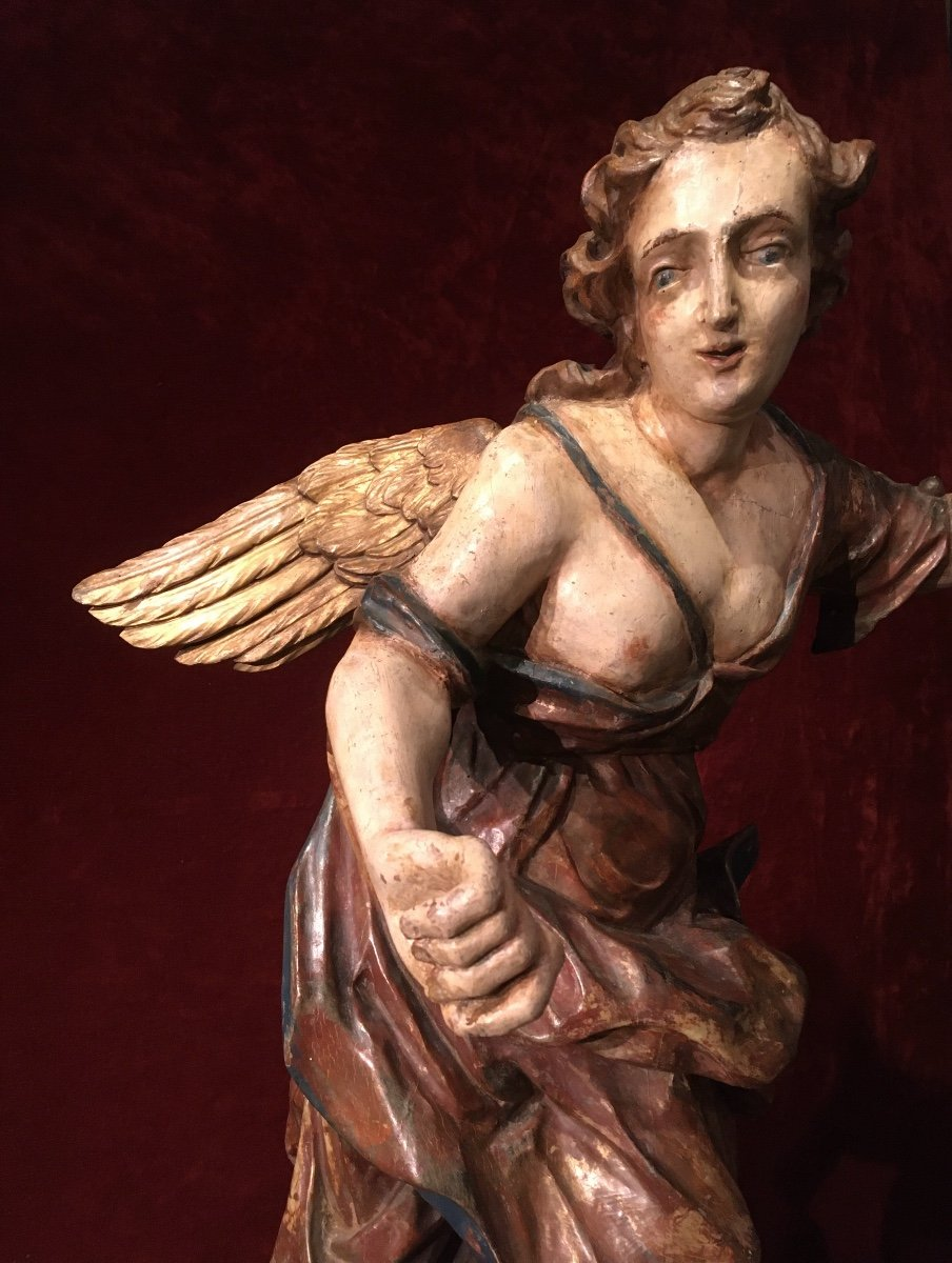 Large Baroque Angel In Polychrome Wood 17th Century-photo-3