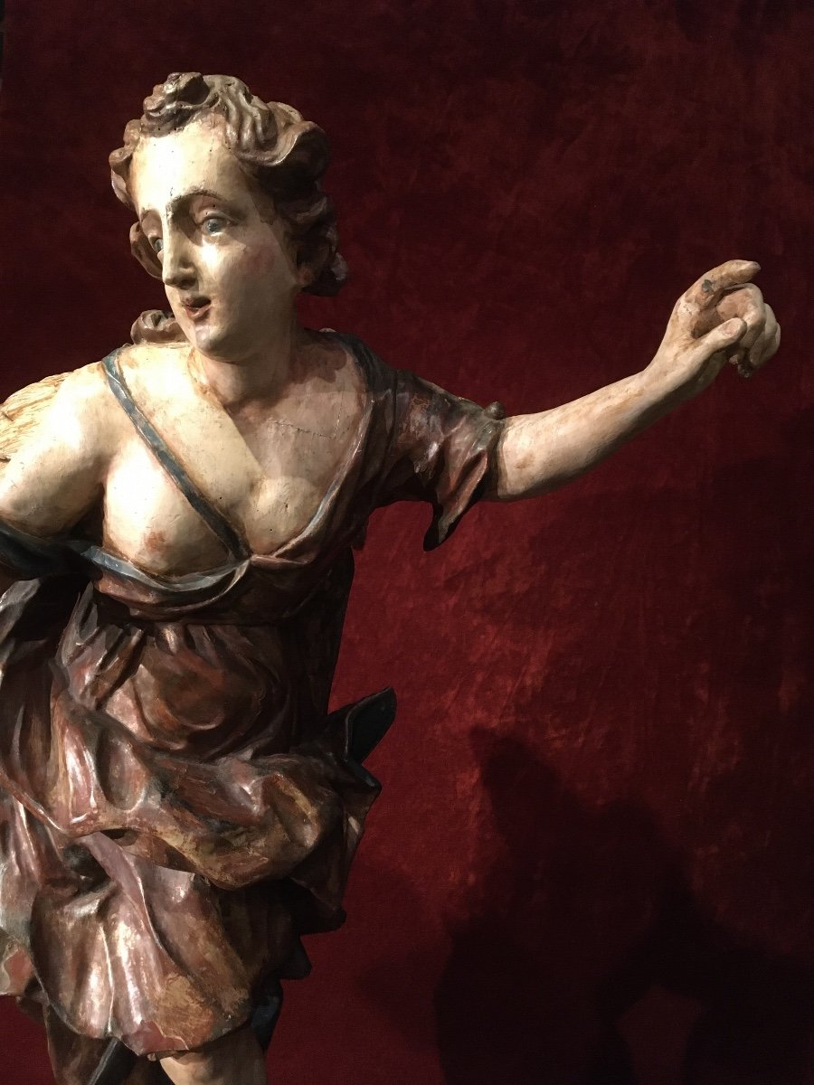 Large Baroque Angel In Polychrome Wood 17th Century-photo-5