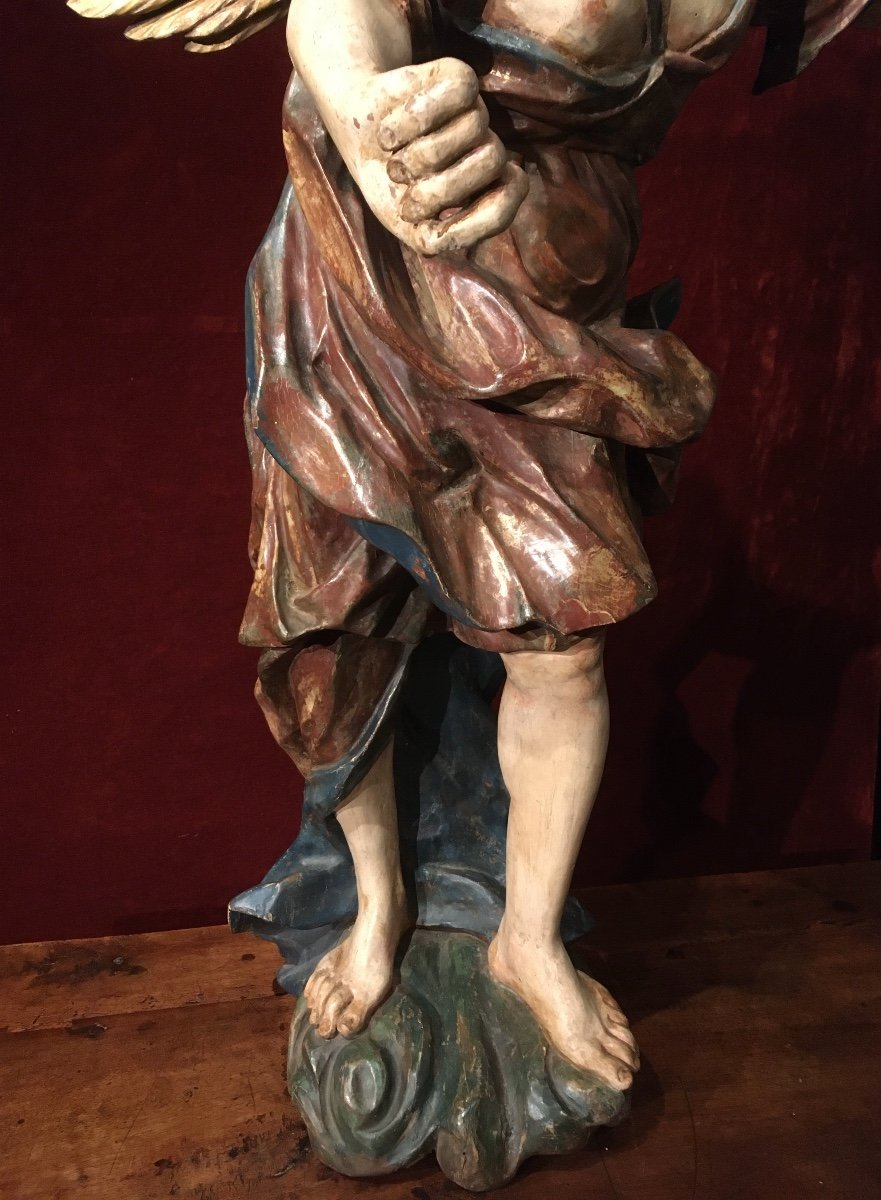 Large Baroque Angel In Polychrome Wood 17th Century-photo-6